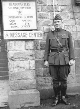 John A. Lejeune standing in front of the headquarters of the second division.