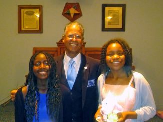 Rainbow girls with the Worshipful Master