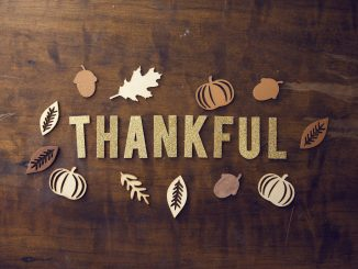 Thankful words on a wood pattern